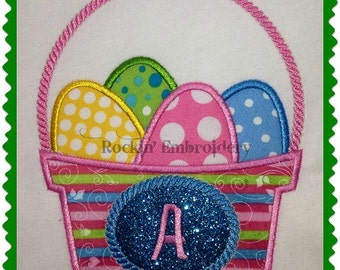 Easter Basket with Monogram Space Embroidery Applique Design- INSTANT DOWNLOAD