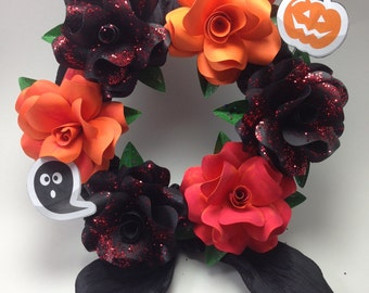 Halloween paper flower wreath