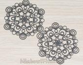 PDT284-B // Black Jewelry Paint Coated Bubble Filigree Snowflake Pendant, 2 Pc