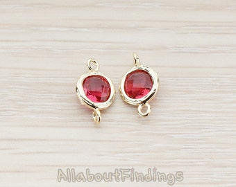 FST113-G-RU // Glossy Gold Plated Textured Round Framed Ruby Stone Connector, 2 Pc