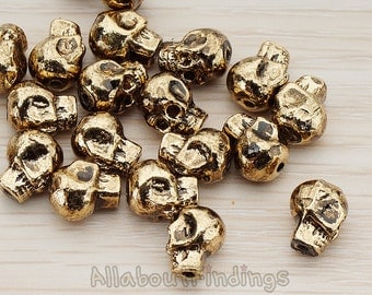 BDS941-AG // Glossy Antique Gold Plated 3D Pirate Skull Metal Bead, 2 Pc
