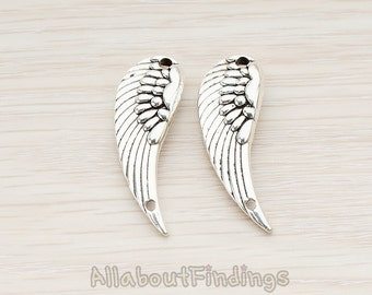 PDT844-02-AR // Antique Original Rhodium Plated Angel Wing  Pendant, 2 Pc