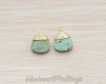 PDT896-G // Glossy Gold Plated Wire Wrapped Chinese Turquoise Pendant, 2 Pc