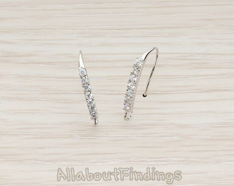 ERG023-R // Glossy Original Rhodium Plated Clear Crystal Cubic Zirconia Setting Earwire, 2 Pc