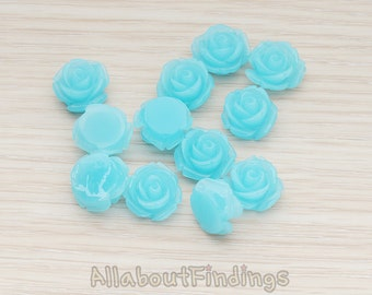 CBC141-01-IB // Ice Blue Colored Curved Petal Rose Flower Flat Back Cabochon, 6 Pc