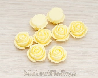 CBC147-BU // Butter Colored Dolly Rose Flower Flat Back Cabochon, 4 Pc