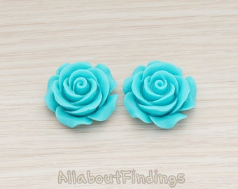 CBC157-06-TU // Turquoise Colored XLarge Angelique Rose Flower Flat Back Cabochon, 2 Pc