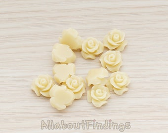 CBC191-01-LT // Latte Colored Small Bloom Rose Flower Flat Back Cabochon, 6 Pc