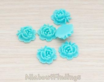 CBC503-TU // Turquoise Colored Flat Rose Flower Back Cabochon, 6 Pc