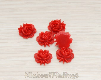 CBC503-DR // Dark Red Colored Flat Rose Flower Back Cabochon, 6 Pc