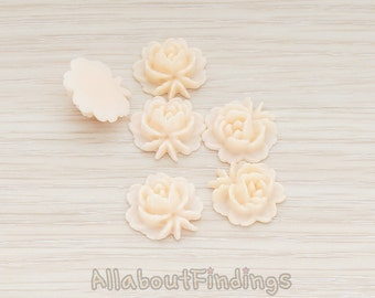 CBC503-AP // Apricot Colored Flat Rose Flower Back Cabochon, 6 Pc