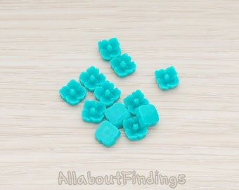 CBC602-TL // Teal Colored Mini Hibiscus Flower Flat Back Cabochon, 10 Pc