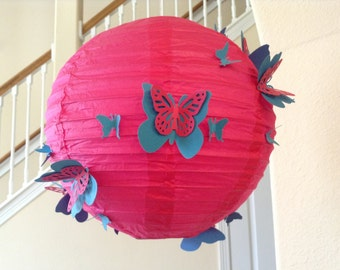 "8"" Hawaiian Punch, paper lantern, butterfly lantern, butterfly party, hanging ceiling decor, butterfly hanging decor, butterfly birthday"