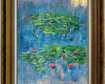 Original Oil Painting, Monet Water Lilies Oil Painting, Water Lilies Painting, Water Lilies, Painting, Painted on Canvas,20 by 24-Inch