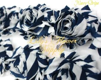 Navy Stripe Shabby Rose Trim - Shabby Flower Trim - Shabby Rose trim - Shabby Flower - Chiffon Trim - Shabby Chic - Rose Trim - Wholesale