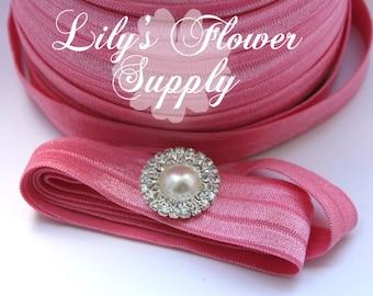 10 yards - 5/8 Fold Over Elastic - FOE - Bublegum Pink - Foldover Elastic - Elastic by the yard - Shiny Elastic - DIY - Headband