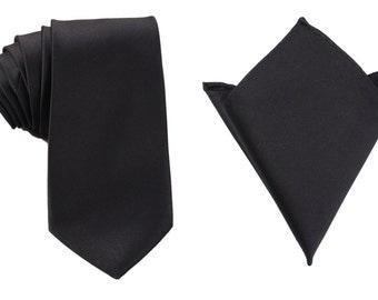 Matching Necktie + Pocket Square Combo Design Solid Black Classic (X007-T85+PS) Men's Handkerchief + Neck Tie 8.5cm Ties Neckties Wedding