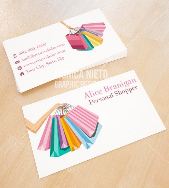 Custom premade personal shopper business card shopper blogger by il570xn colourmoves