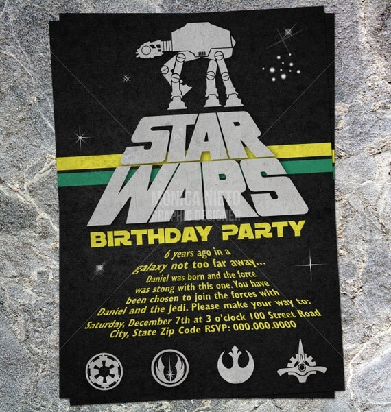 Printable Star Wars Inspired Birthday Invitation by Monica Graphic ...