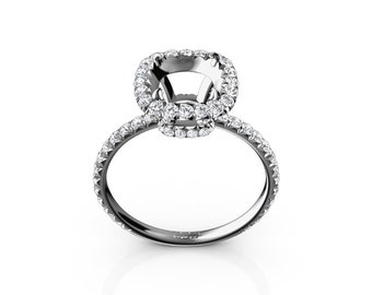 0.85 Cttw Round Diamond Halo Semi Mount Engagement Ring in Solid Gold or Platinum