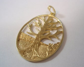 tree of life 14k gold filled vintage Style pendant