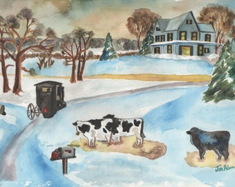 AMISH Landscape ORIGINAL Watercolor Painting Unframed Double Matted House Cows Mail Boxes Winter Snow Cart