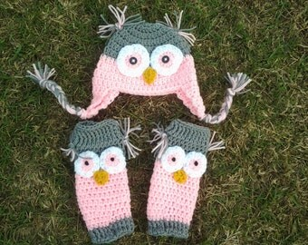 Crochet baby owl hat and legwarmers pink and gray, baby and toddler grey & pink owl leg warmers beanie set baby girl fall outfit, winter set