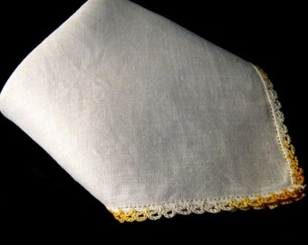 Vintage Hanky with Yellow Crocheted Trim,White Linen Handkerchief,Wedding Hanky, Wedding Favor,Ombré Crocheted Lace Trim Hanky