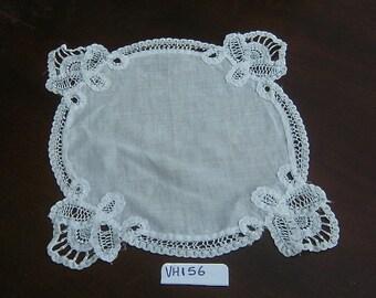 "Vintage Lace Placemat,9.5"" Doily or Hanky,White Lace Hanky, Battenburg Lace,Bride Handkerchief,Wedding Doily, Vintage Linens, Country Linens"