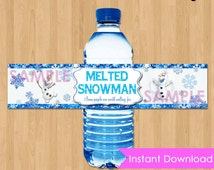 """Frozen Bottle Labels - INSTANT DOWNLOAD 2x9""""  Melted Snowman Disney Frozen Water Bottle Labels - Birthday Party Printable matches Invitation"""