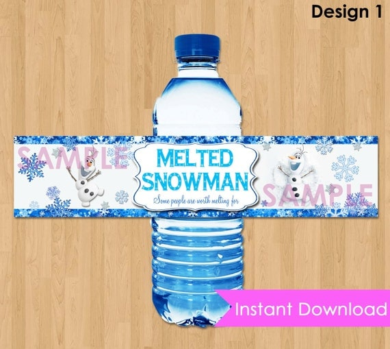 "Frozen Bottle Labels - INSTANT DOWNLOAD 2x9""  Melted Snowman Disney Frozen Water Bottle Labels - Birthday Party Printable matches Invitation"