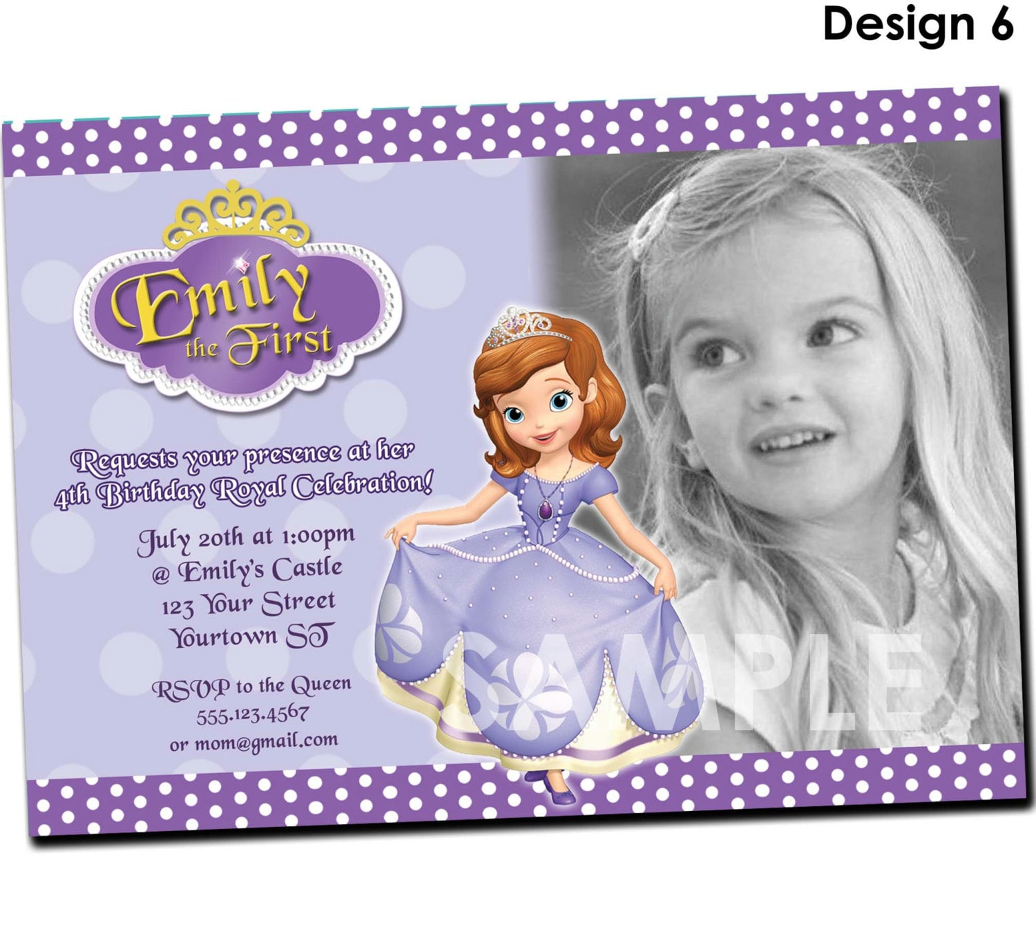Sofia the First Birthday Party Invitation Sofia the First