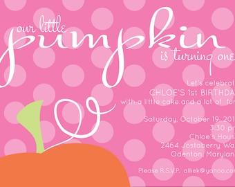 Pink Pumpkin Birthday Invitation - Our Little Pumpkin Invitation - Printable