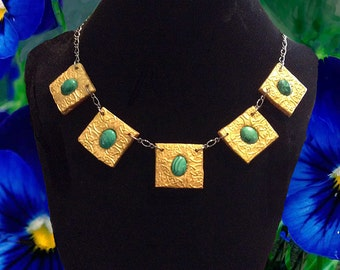 SALE - Celtic Goddess Malachite Necklace Original Art