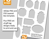Make Your Own Printable Gift Tags. Digital Template and Bonus Sheet of 12 Gift Tag Designs.  300dpi PNG and PSD files.