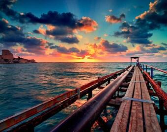 Landscape Photography, Wall Decor, Nature,  Fine Art Photograph, Beach, Seascape Photography, sunset, rock, fortress, Pier