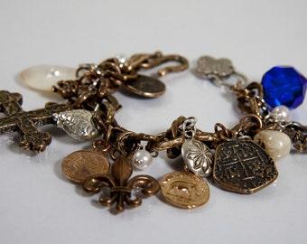Davy Jones Locker Bracelet - sterling silver, bronze, pearls, shell and crystal
