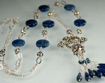 Flappers and Philosophers Necklace - kyanite, sodalite, swarovski crystal, labradorite inlaid findings and sterling silver