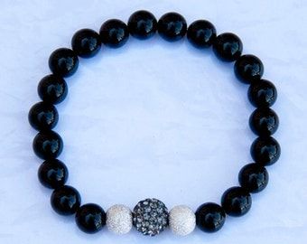 Queen of the Night Stackable - black onyx, sterling glitter balls and swarovski pave' ball