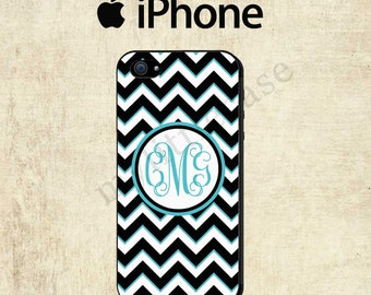 iPhone 6 Case - iPhone 6 Plus Case - Personalized iPhone Case - Black Blue Chevron iPhone 4 Case - iPhone 5S Case - iPhone 5C Case