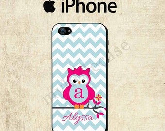 iPhone 6 Case - Owl iPhone 5C Case - Monogram iPhone 5S Case - iPhone 4 Case - Personalized iPhone Case