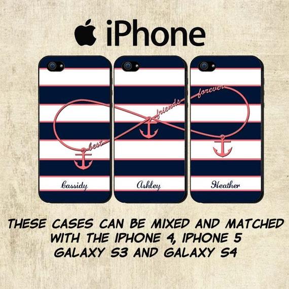 iPhone 6 Case - Best Friends iPhone 6 Plus Case - Personalized iPhone 5C Case - iPhone 4 Case - Infinity Anchor iPhone Case - Three Case Set