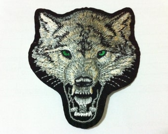 Ferocious Wolf Head (8 x 9.5 cm) Embroidered Iron on Applique Patch (B)