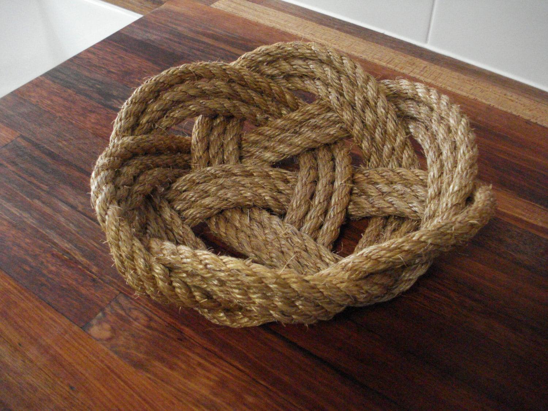 Handmade Rope Basket : Handmade decorative manilla rope basket bowl kitchen boat