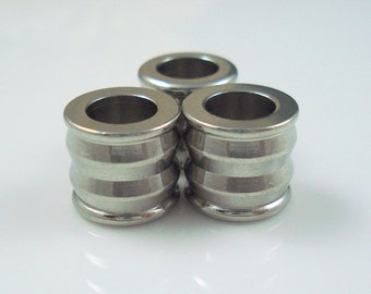 Stainless Steel 6MM Beads, THREE 6mm Hole Grooved Column Bead for Leather or Cord (SSB16)