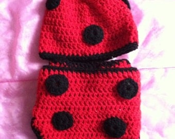 Lady bug hat and diaper cover, baby set, ladybug set, photography prop lady bug