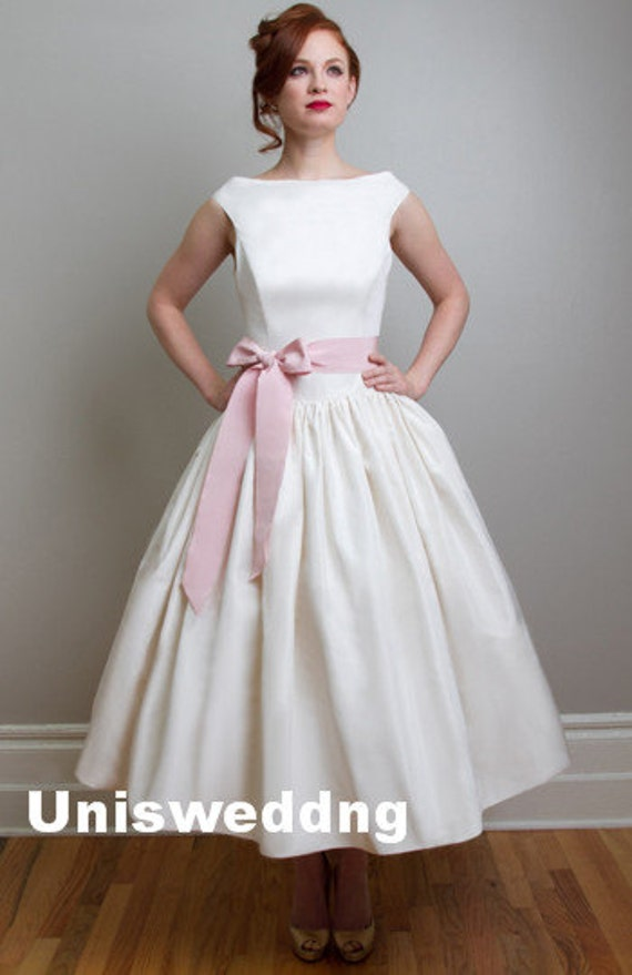 Pink sash cap sleeves ankle length vintage wedding by for Ankle length wedding dress with sleeves