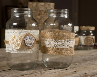 Country Rustic Wedding Mason Jars Set of 2 Wrapped with Burlap and Lace