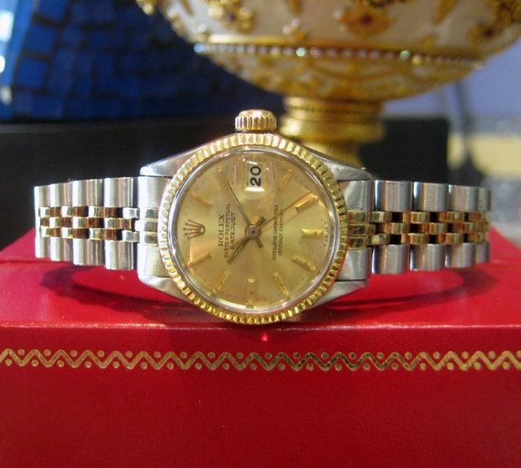 Ladies Vintage Rolex Oyster Perpetual Datejust Stainless Steel