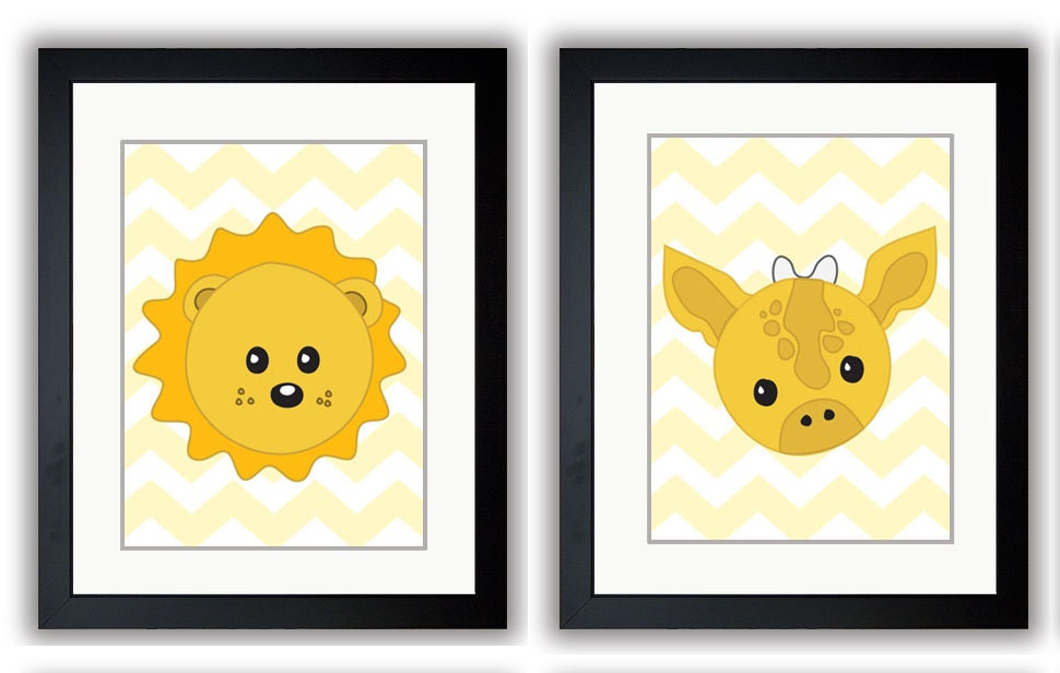 Nursery Art Nursery Print Baby Art Baby Animal Lion and Giraffe Yellow Print Set of 4 Wall Art Nurse